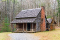 Cades cove cabin a double once owned by henry whitehead along forge creek in great smoky mountains national park tennessee usa Stock Photo