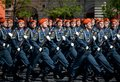 Cadets of the Academy of civil protection of EMERCOM of Russia during the parade on red square in honor of Victory day. Royalty Free Stock Photo