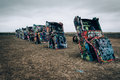 The Cadillac Ranch, along Historic Route 66 in Amarillo, Texas. Royalty Free Stock Photo
