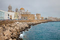 Cadiz view to spain one of the most southern towns of europe breakwater on foreground Royalty Free Stock Photography