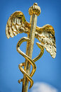 Caduceus aesculap staff sign for medicine Stock Images