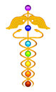 Caduceus chakras rendering of a golden rod and Stock Photo