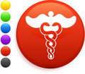 Caduceus icon on round internet button Royalty Free Stock Photography