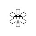 Caduceus line icon, Medicine and health sign Royalty Free Stock Photo
