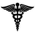 Caduceus logo an illustration of in black Royalty Free Stock Photo