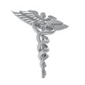 Caduceus medical symbol isolated on white background d render Royalty Free Stock Photo