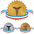 Caduceus Medical Symbol - Set of 3 with Ribbon Royalty Free Stock Image