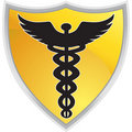 Caduceus Medical Symbol with Shield Royalty Free Stock Photo