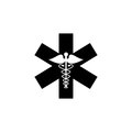Caduceus solid icon, Medicine and health sign Royalty Free Stock Photo