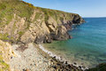 Caerfai bay beach pembrokeshire west wales uk near st davids and in the coast national park the coast path passes Royalty Free Stock Images