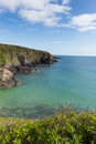 Caerfai bay pembrokeshire west wales uk st brides near st davids and in the coast national park the coast path Stock Photos