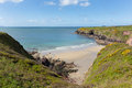 Caerfai bay and st brides bay west wales uk pembrokeshire near davids in the coast national park the pembrokeshire coast path Royalty Free Stock Images