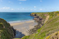 Caerfai bay west wales uk pembrokeshire near st davids and in the coast national park the pembrokeshire coast path passes Stock Images