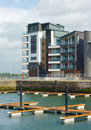 Caernarfon waterfront development with marina Royalty Free Stock Photos