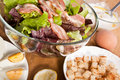 Caesar salad with bacon and eggs Royalty Free Stock Photo