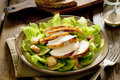 Caesar salad closeup of a fresh with grilled chicken Stock Image