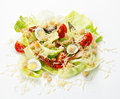 Caesar salad eastern with smoked eel on a white background Stock Photo
