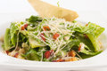 Caesar salad organic with cheese and crouton isolated on white Royalty Free Stock Photo