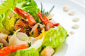 Caesar salad with prawns cheese and greens Royalty Free Stock Photography