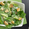 Caesar salad top down view Royalty Free Stock Image