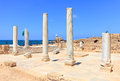 Caesarea marble columns with blue sky and sea in background mediterranean antique town reserve israel Stock Images