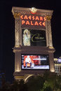 Caesars palace hotel sign at night in las vegas nv on august may barack obama performed the one show a good fight Stock Image