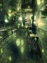 Caféterrasse nachts in der europäischen stadt Lizenzfreies Stockfoto