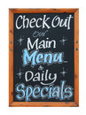 Cafe advertisement sign saying check out our main menu and daily specials white background Stock Photography