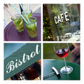 Cafe and bistro ambiance collage of frenche Royalty Free Stock Photo