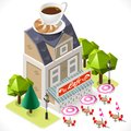 Cafe building tint icon isometric retro with a big coffee cup at the top d tile for your own game app vector Royalty Free Stock Photo