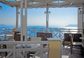 Cafe with caldera view on Santorini Stock Images