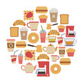 Cafe card round flat design elements Stock Images