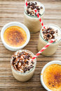 Cafe creme brulee cold drink gourmet chocolate garnished with dark chocolate Royalty Free Stock Images