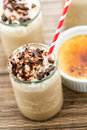 Cafe creme brulee cold drink gourmet chocolate garnished with dark chocolate Royalty Free Stock Image