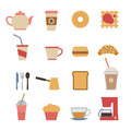 Cafe design elements set of flat Royalty Free Stock Photo