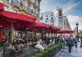 Cafe fouquet and restaurant located on the champs elysee paris france Royalty Free Stock Photo