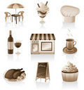 Cafe icon set. Royalty Free Stock Photography