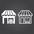 Cafe icon. Solid and Outline Versions. White icons on a dark bac