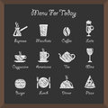 Cafe icons on board vector collection Stock Photography