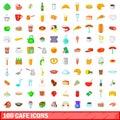 100 cafe icons set, cartoon style