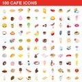 100 cafe icons set, isometric 3d style