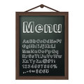 Cafe menu board with chalk alphabet vector illustration Royalty Free Stock Images