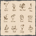 Cafe menu hand draw icons eps Stock Image
