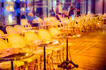 Cafe outdoor tables Royalty Free Stock Photo