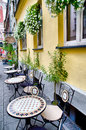 Cafe outdoors beautiful european street Stock Photos