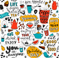 Cafe pattern with doodle tea pots, cups, inspirational quotes and desserts. Coffee is always a good idea. Eat good, feel