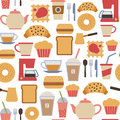 Cafe pattern seamless with flat icons Royalty Free Stock Photos