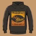 Cafe Racer hoodie print design template, vector illustration