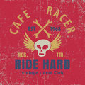 Cafe racer typographic with winged skull,graphic for for t-shirt,vector illustration