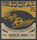 Cafe racer vintage motorcycle design vector lettering shirt print eps available grunge texture can be easily removed Royalty Free Stock Images